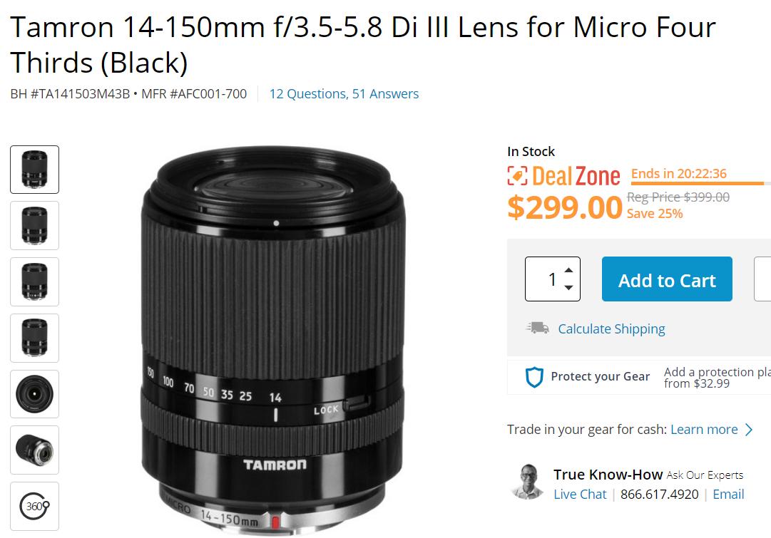 Hot Deal: Tamron 14-150mm f/3.5-5.8 Di III Lens MFT for $299!